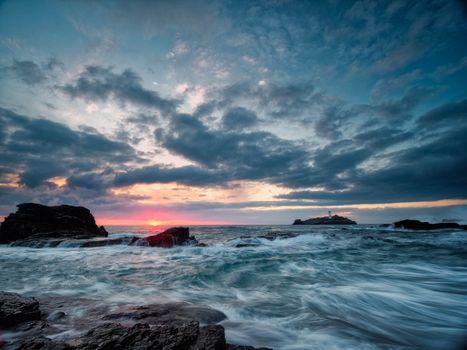Бесплатные фото Заход солнца,Маяк Годреви,закат,графство Корнуолл,Великобритания,море,волны,скалы,пейзаж