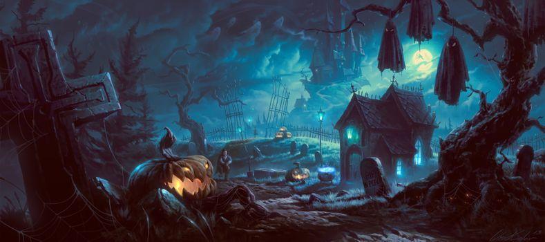 Фото бесплатно искусство, Хэллоуин, ночь