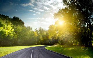Photo free light, nature, road