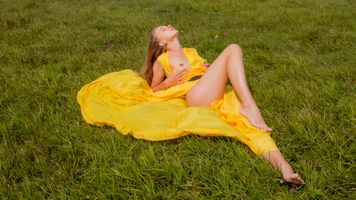 Бесплатные фото milena,yellow dress,dress,brunette,grass,tits