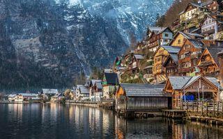 Фото бесплатно Альпы, дома, озеро