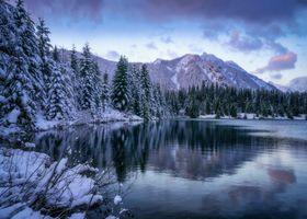 Бесплатные фото Washington,Gold Creek Pond,зима,горы,лес,деревья,водоём