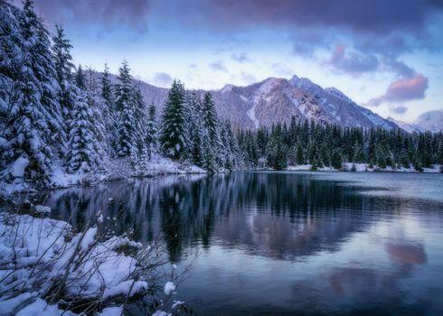 Бесплатные фото Washington,Gold Creek Pond,зима,горы,лес,деревья,водоём,природа,пейзаж