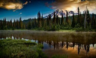 Photo free Reflection Lake, Mount Rainier National Park, sunset