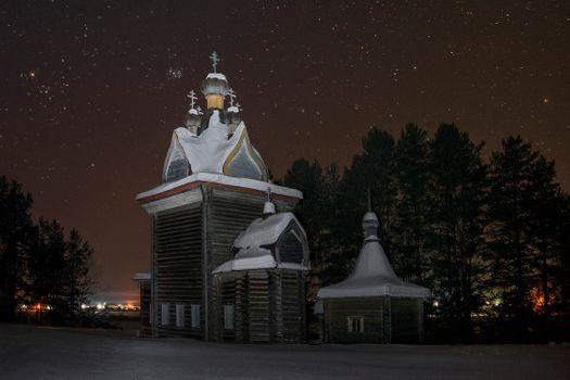 Photo free Holy Artemievo-Verkola Monastery, Arkhangelsk region, night