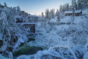 Бесплатные фото Odda,Norway,зима,река,снег,сугробы,лес