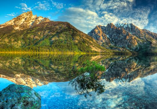 Фото бесплатно отражение, деревья, озеро Дженни