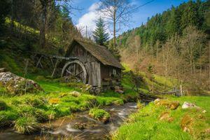 Бесплатные фото Мельница,Германия,река,лес,деревья,пейзаж
