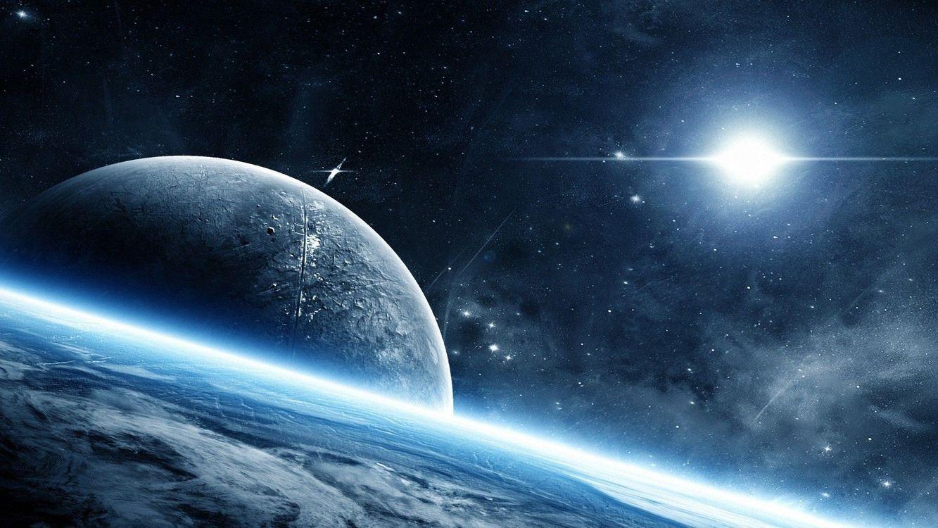 Фото бесплатно вспышки, космическое искусство, планета, звезды, светящиеся, космос
