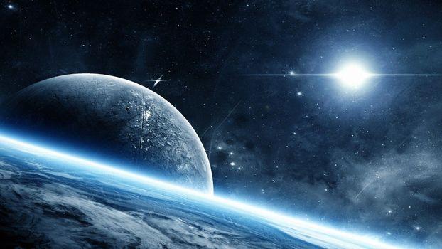 Фото бесплатно вспышки, космическое искусство, планета