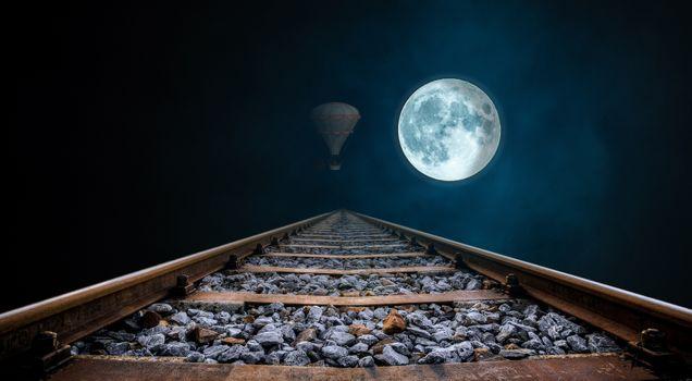 Фото бесплатно полнолуние, gleise, ночь