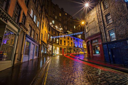 Фото бесплатно Уличные фонари ночью, Старый город, Эдинбург