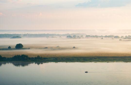 Фото бесплатно небо, туман, пруд
