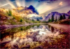 Photo free sunset, mountains, lake
