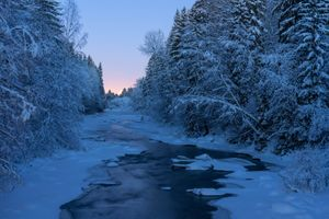 Photo free winter, river, sunset