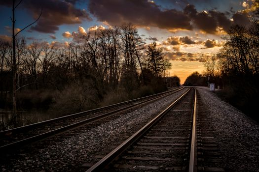 Photo free railway track, sunset, track