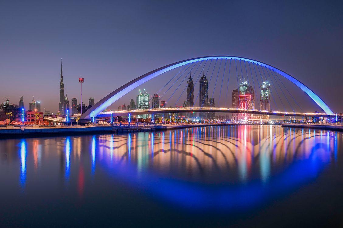 Обои Дубай, ночь, архитектура картинки на телефон