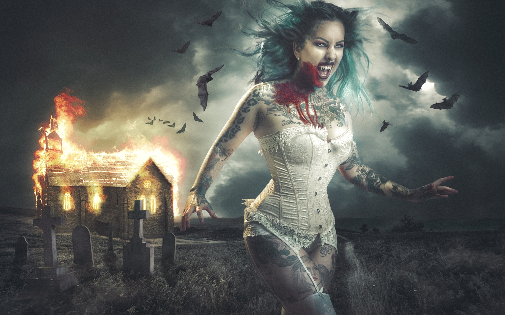 Free Photo Night Vampire Cemetery House Fire Burning Horror