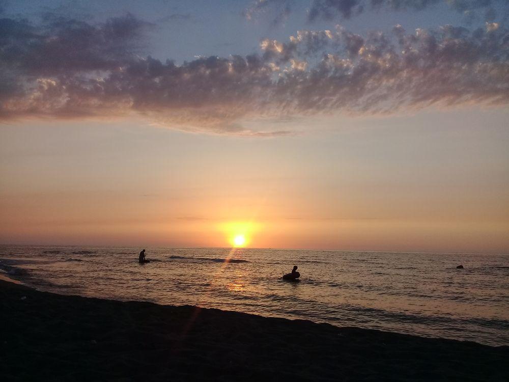 Фото бесплатно пляж, облако, оранжевый, море, небо, солнце, закат солнца, пейзажи