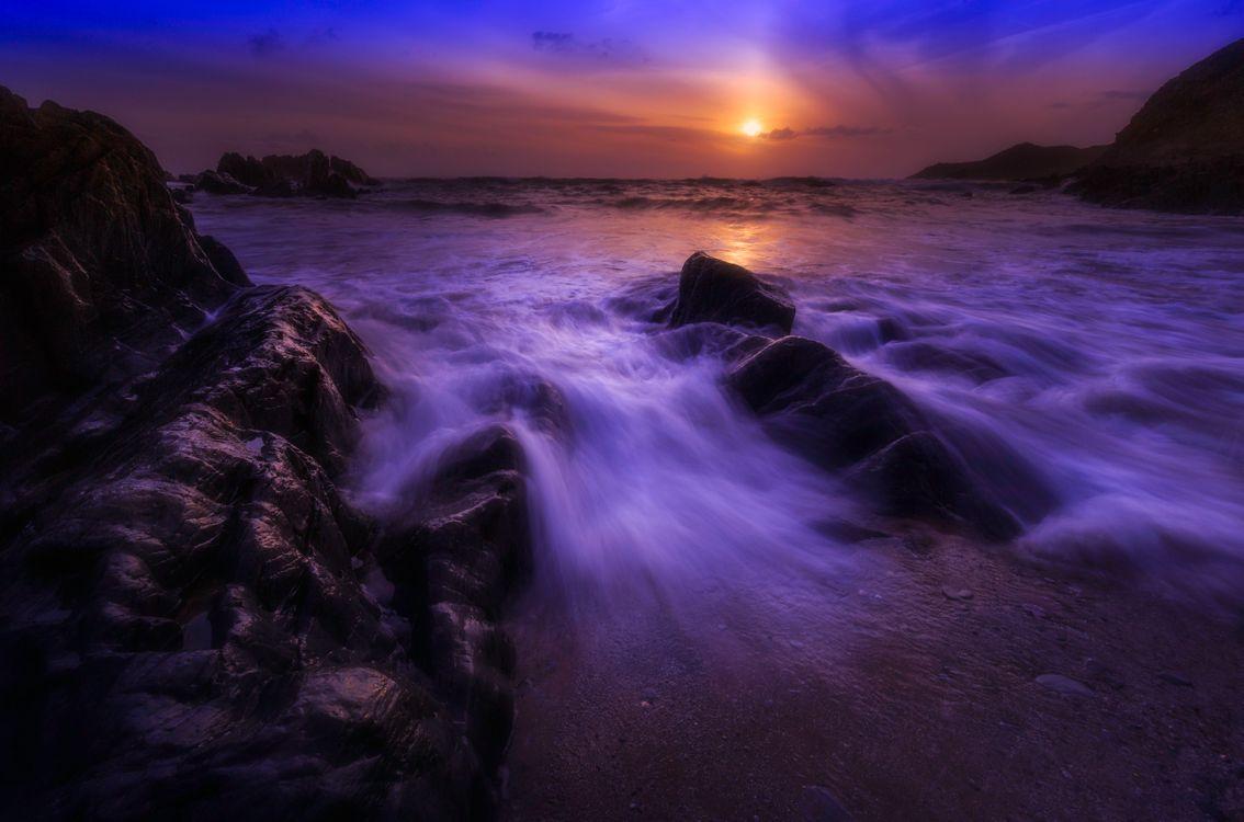 Фото камни закат море - бесплатные картинки на Fonwall