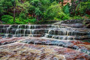 Бесплатные фото Zion National Park,Utah,штат Юта,Национальный парк Зайон,США,река,водопад
