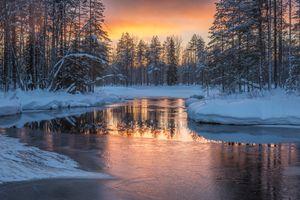 Заставки Koli, закат, зима