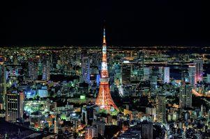 Заставки Телевизионная башня,Токио,Япония,город,ночь,иллюминация,ночные города