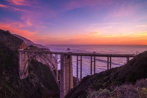Бесплатные фото Bixby Bridge,California,Биксби-Бридж,Калифорния,закат,море,мост