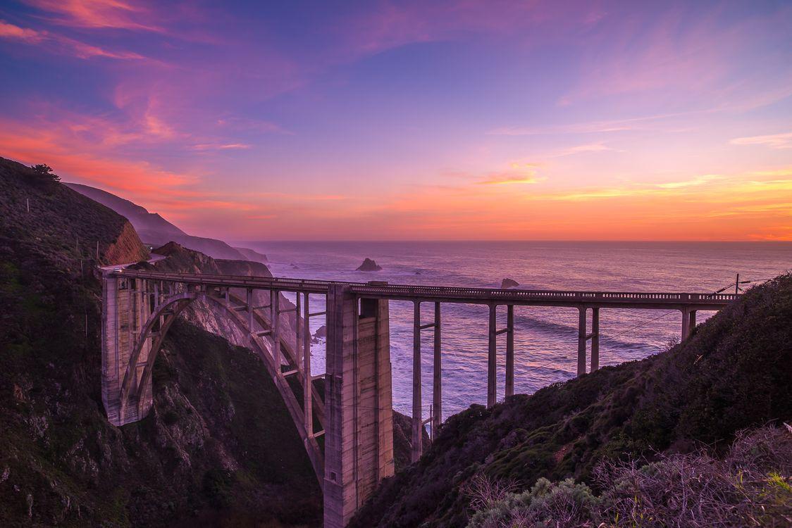 Фото бесплатно Bixby Bridge, California, Биксби-Бридж, Калифорния, закат, море, мост, пейзажи
