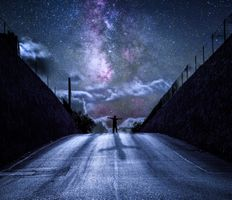 Фото бесплатно ночь, дорога, сияние