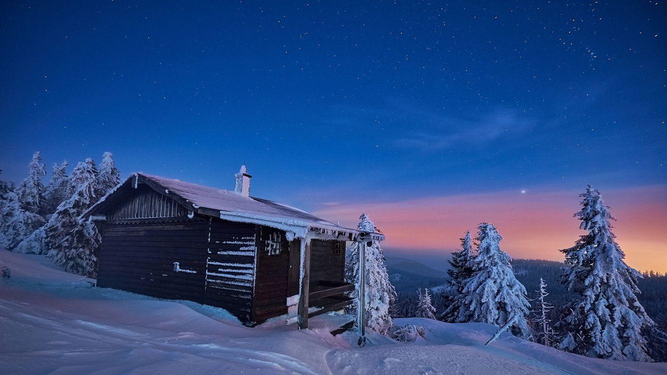 Фото бесплатно Округ Ортенау, Германия, Баден-Вюртемберг, зима, закат, сумерки, домик - на рабочий стол
