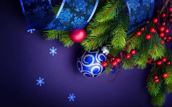 Photo free Christmas background, fir twigs, toys