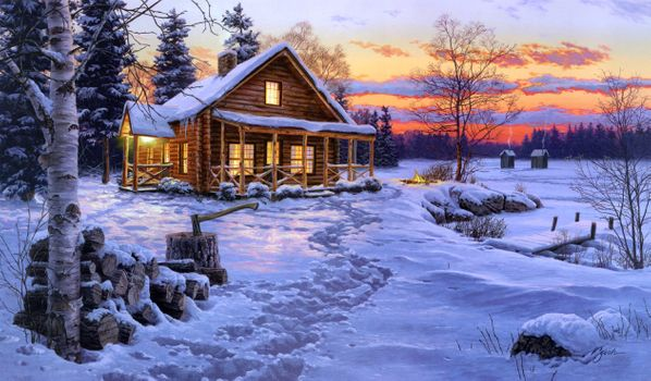 Photo free art, winter, house