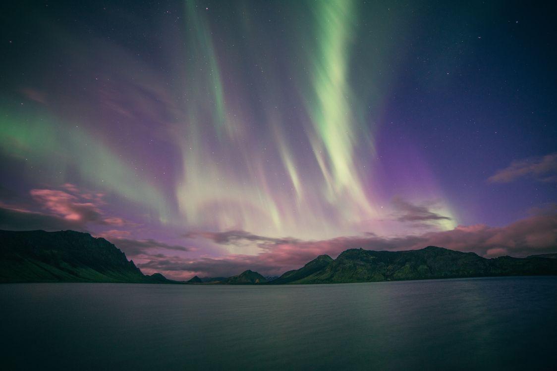 Фото бесплатно северное сияние, полярное сияние, звезды - на рабочий стол