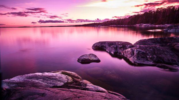 Фото бесплатно фиолетовый небо, горизонт, закат