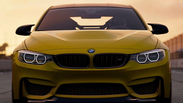 Photo free bmw m4, yellow, front