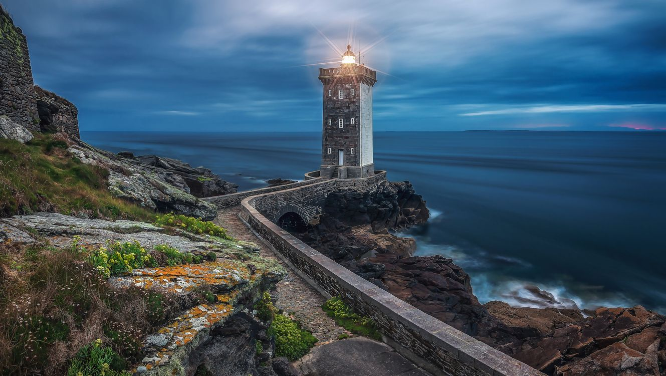 Photos for free Kermorvan lighthouse, France, sunset - to the desktop