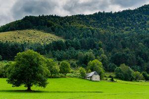 Бесплатные фото поле,холмы,деревья,домик,тучи,пейзаж