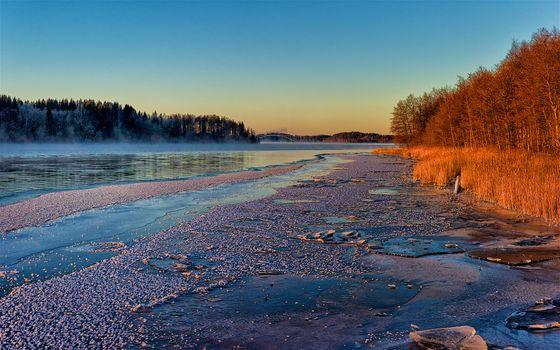 Фото бесплатно природа, Швеция закат, Река Ангерман