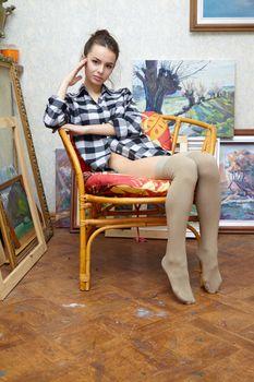Deborah posing on chair · free photo