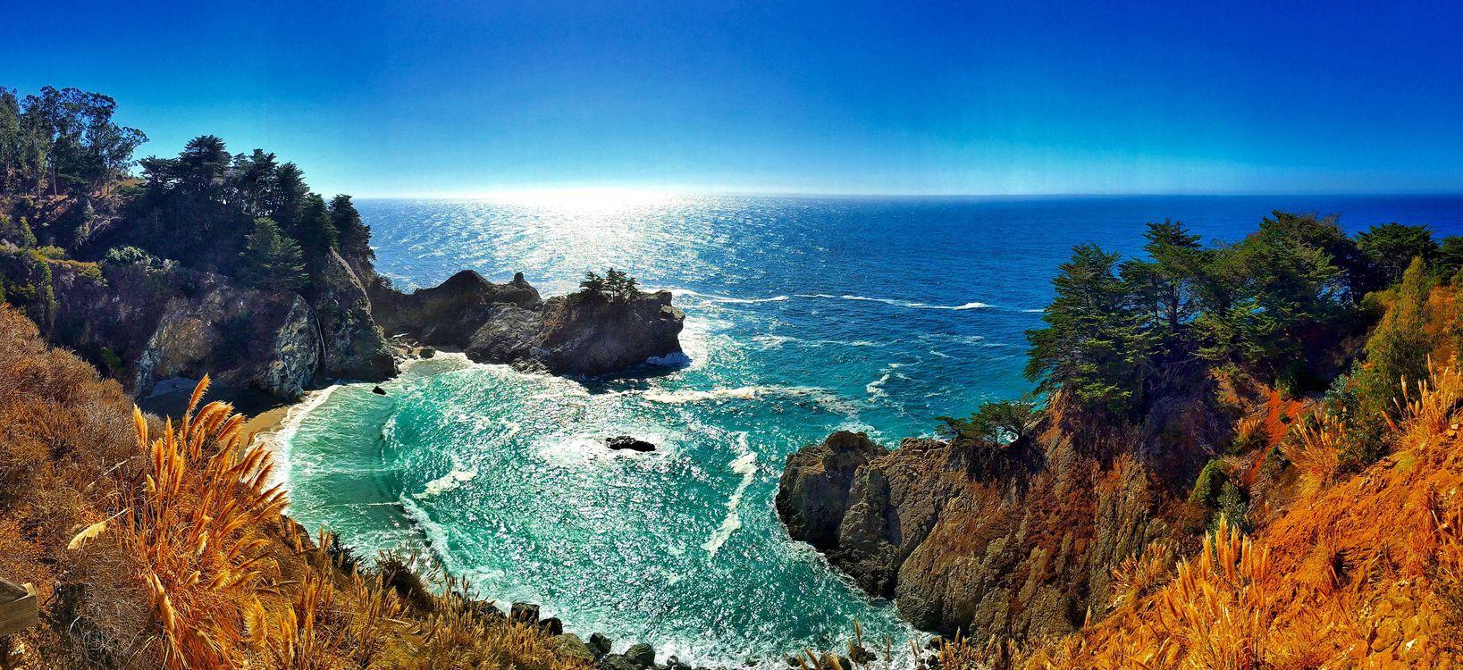 Фото бесплатно McWay Falls, Big Sur, California, Julia Pfeiffer Burns State Park, McWay Cove Beach, Биг-Сюр, Калифорния, Парк Джулии Пфайфер Берн, закат, водопад, море, берег, пляж, пейзаж, панорама, пейзажи