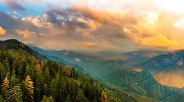 Заставки вид с холмы, закат, горы