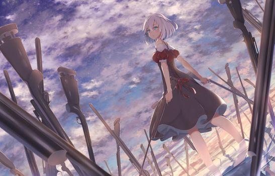 Фото бесплатно аниме девушки, поле боя, боя