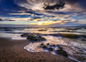 Photo free coast, waves, sunset