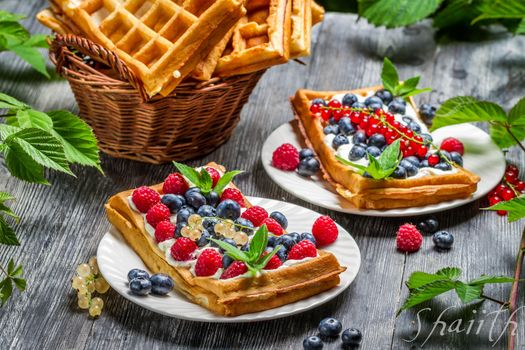 Photo free blueberries, raspberries, waffles