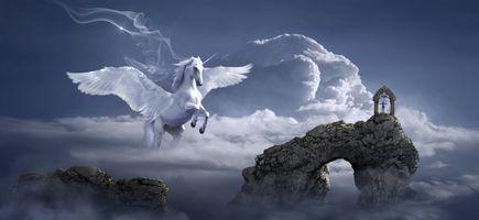 Фото бесплатно небо, облака, крылатый конь
