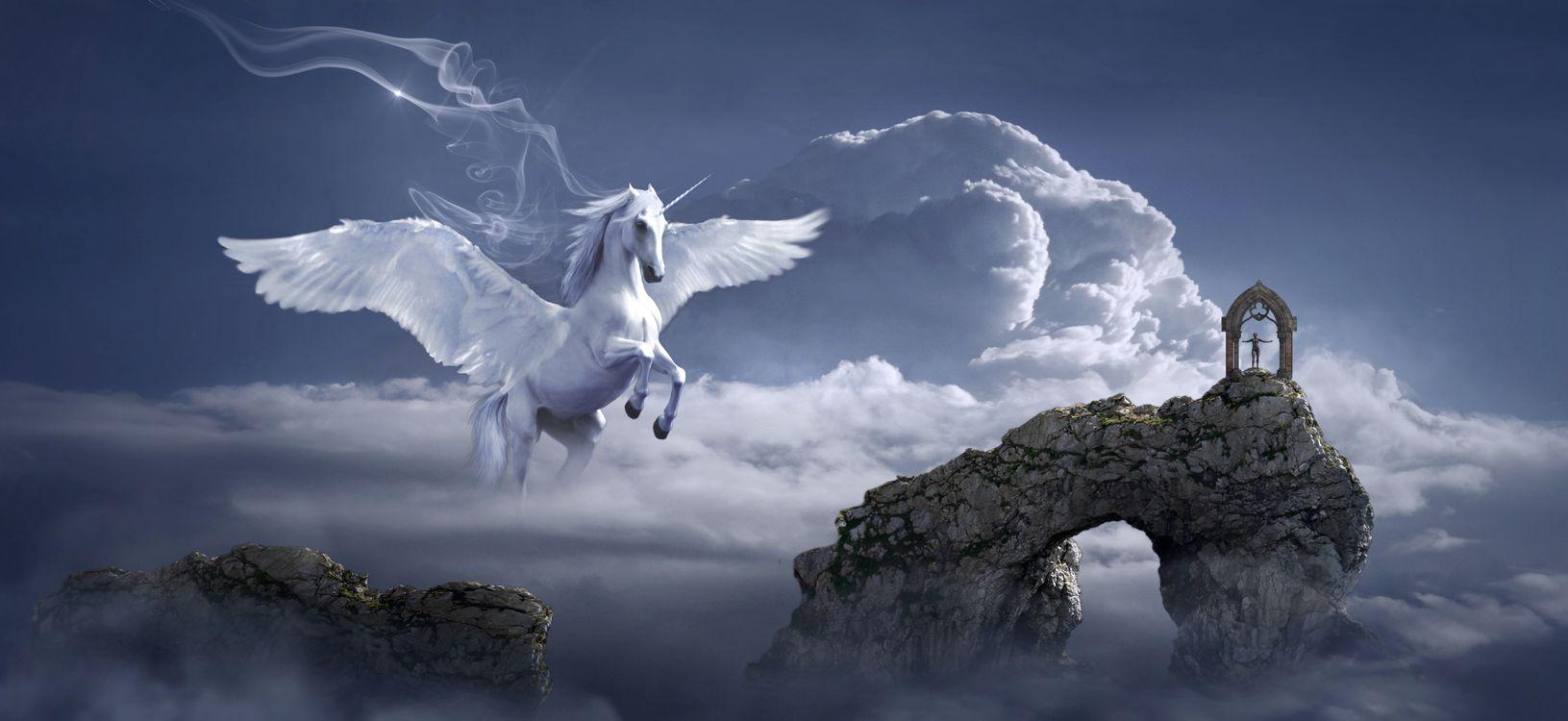 Фото бесплатно небо, облака, крылатый конь - на рабочий стол