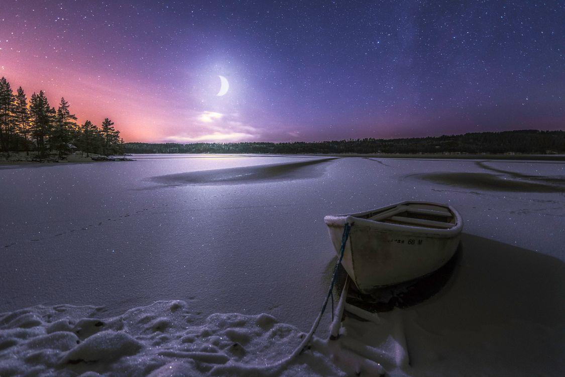 Фото бесплатно Ringerike, Norway, Moonlight - на рабочий стол