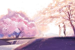 Фото бесплатно аниме пара, живописные, романтика