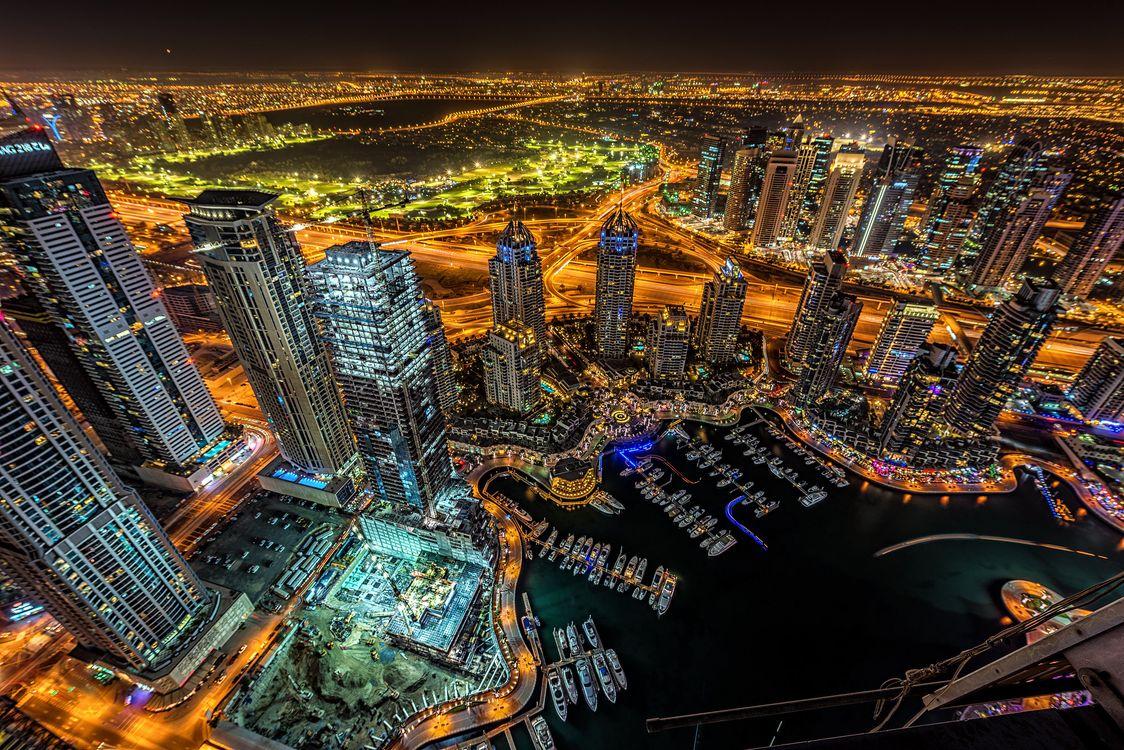 Обои ночные города, Дубай, освещение картинки на телефон